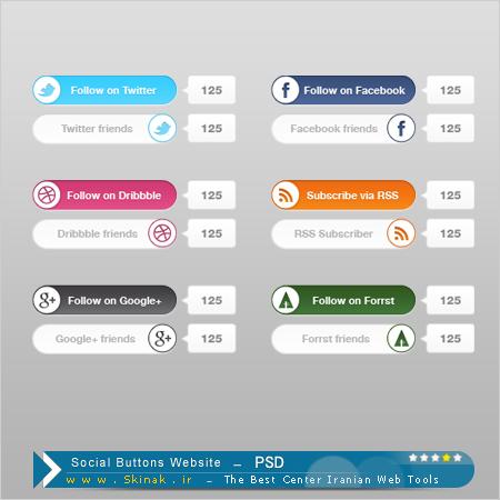 دانلود لایه باز آیکون های شبکه های اجتماعی