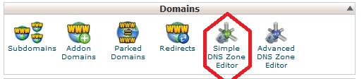 4-درصفحه جدید Simple DNS zone Editor را در قسمت domains پیدا کرده و روی آن کلیک کنید مثل عکس زیر: