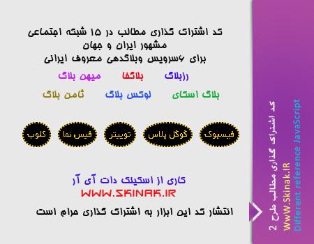 کد اشتراک گذاری مطالب وبلاگ در 15 شبکه اجتماعی-طرح 2
