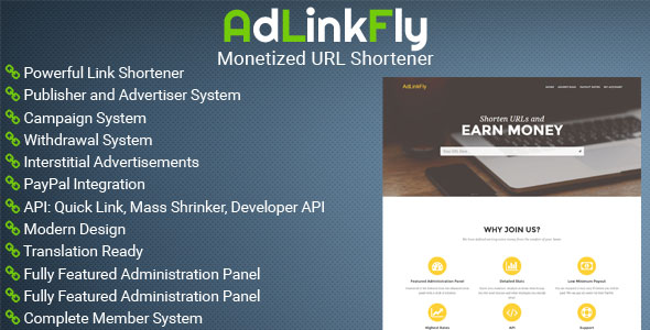 کوتاه کننده لینک AdLinkFly - Monetized URL Shortener