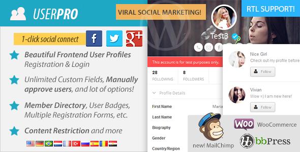 افزونه یوزر پرو فارسی عضویت vip وردپرس  UserPro v4.7