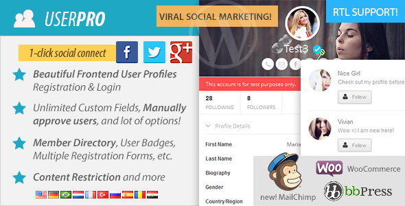 افزونه یوزر پرو فارسی عضویت vip وردپرس  UserPro 4.9.9