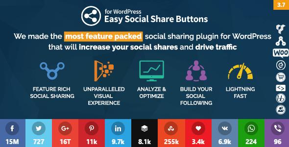 دانلود افزونه اشتراگ گذاری Easy Social Share Buttons v3.7