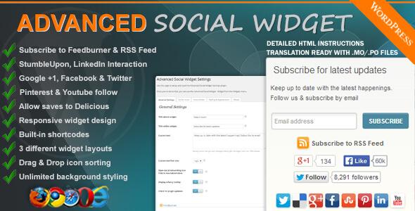 افزونه نمایش شبکه های اجتماعی Advanced Social Widget v3.10