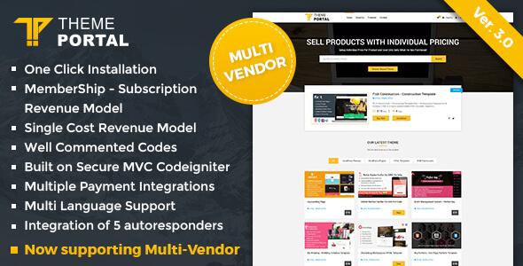 اسکریپت مارکت و فروشگاه قالب و اسکریپت Theme Portal Marketplace v3.1