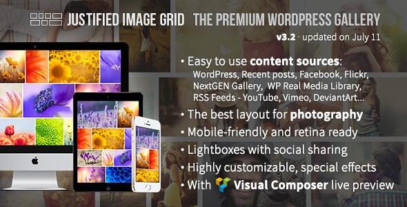 افزونه ایجاد گالری وردپرس Justified Image Grid v3.2