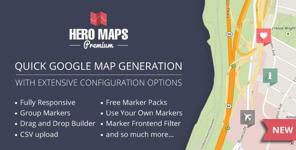 افزونه حرفه ای و واکنش گرا گوگل مپ Hero Maps Premium v2.1.5