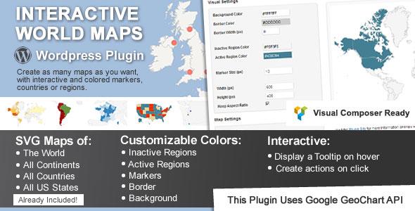 افزونه نمایش کره زمین در وردپرس Interactive World Maps v1.9.5
