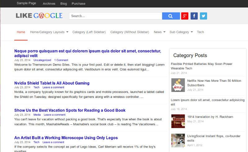 قالب خبری گوگل لایک برای وردپرس google like wordpress theme