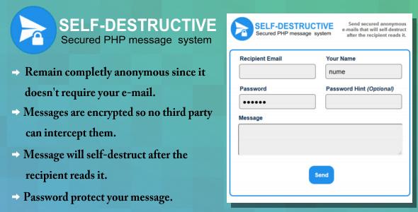 دانلود اسکریپت ارسال ایمیل رمز دار Self-Destruct E-mail message system
