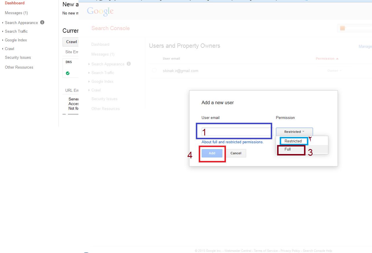 اضافه کردن  کاربر به گوگل وبمستر تولز Users-and-Property-Owners